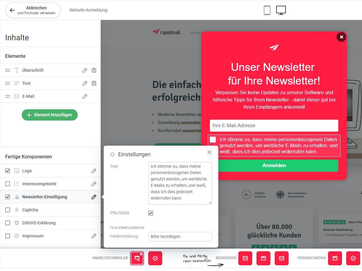 DSGVO-Checkbox im Newsletter-Anmeldeformular