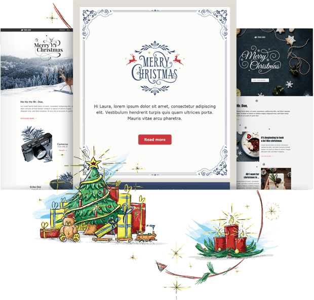 Beeindruckende Newsletter-Vorlagen für die Weihnachtszeit.