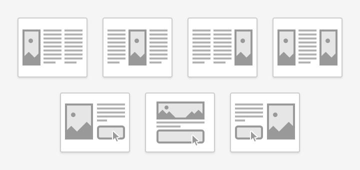 Neue Elemente mit drei Spalten und Kombination aus Bild, Text und Button.