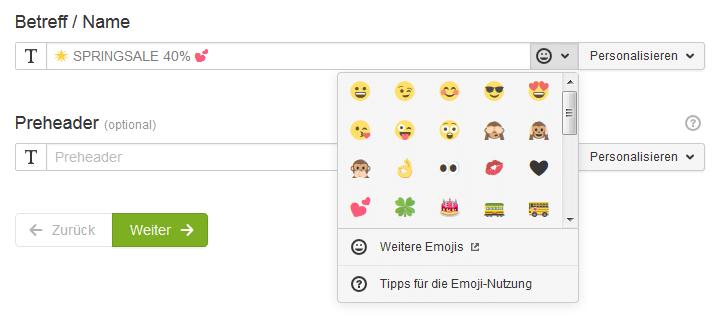 Emojis in den Newsletter-Betreff einfügen.