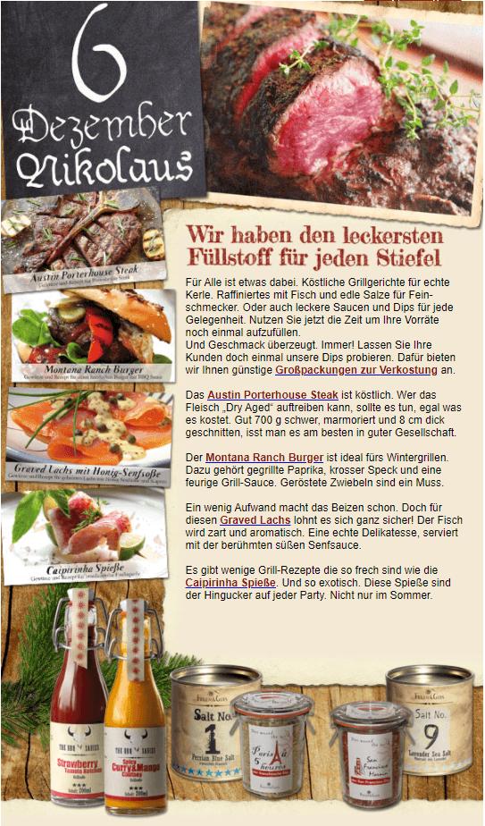 Beispiel Nikolaus-E-Mail Onlineshop