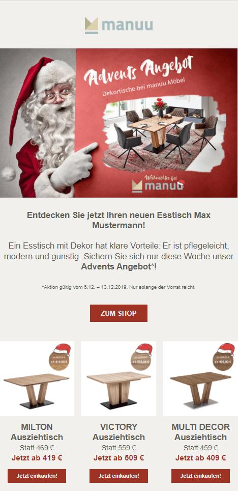 Beispiel Nikolaus-Newsletter Onlineshop