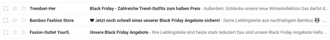 Black Friday E-Mail Betreff Beispiel