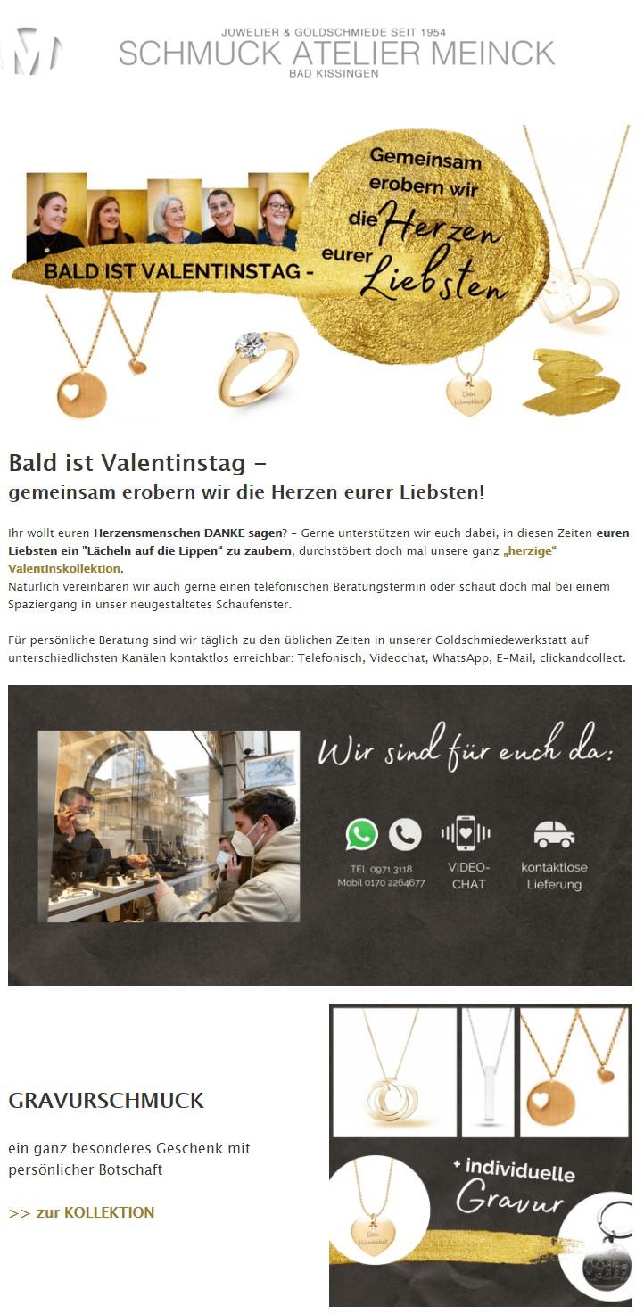 Beispiel Valentinstagsnewsletter Schmuck Atelier
