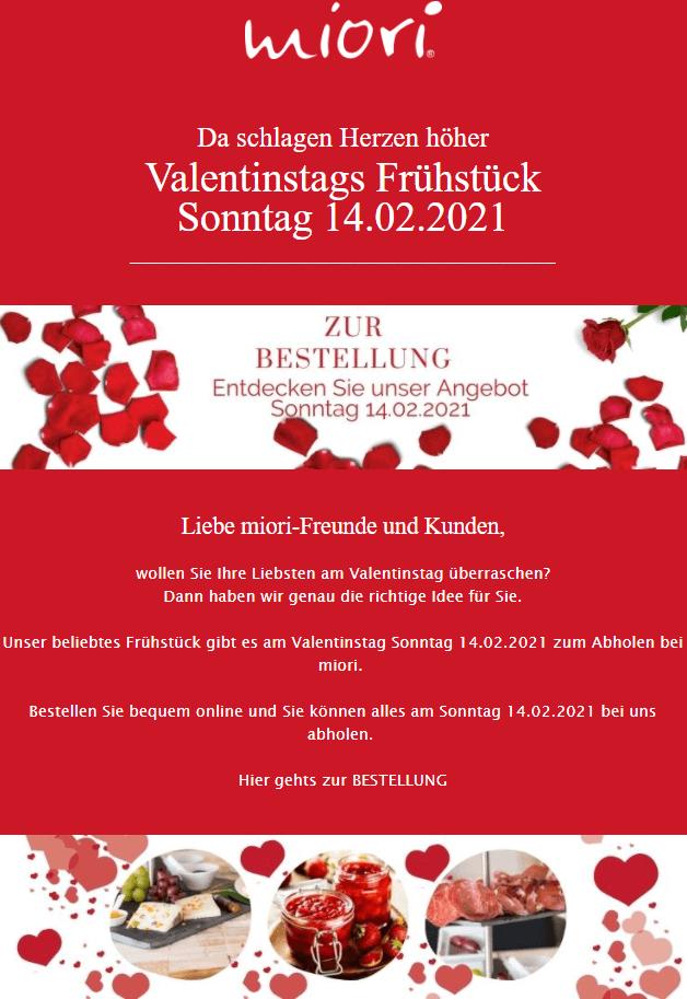 Valentinstagsnewsletter Beispiel für Brunch zum Abholen