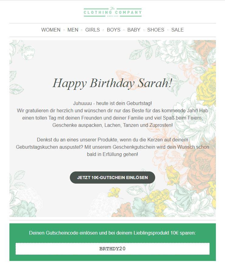Geburtstags-Newsletter mit Gutschein