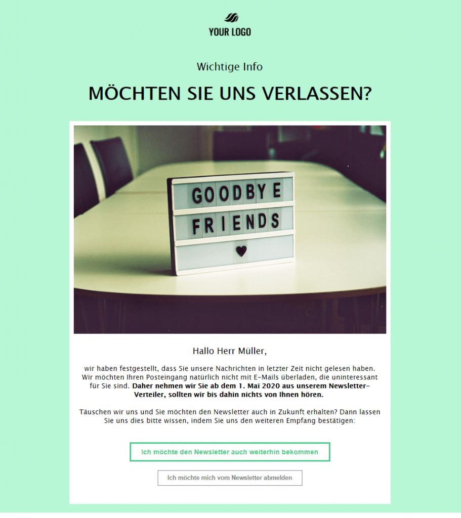Abschiedsmail Newsletter-Empfänger