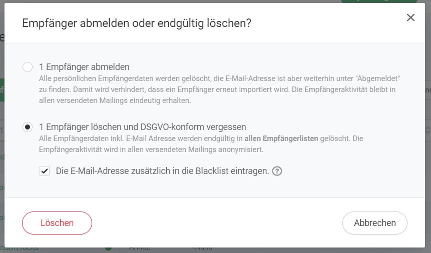 Empfänger DSGVO-konform löschen und in die Blacklist aufnehmen