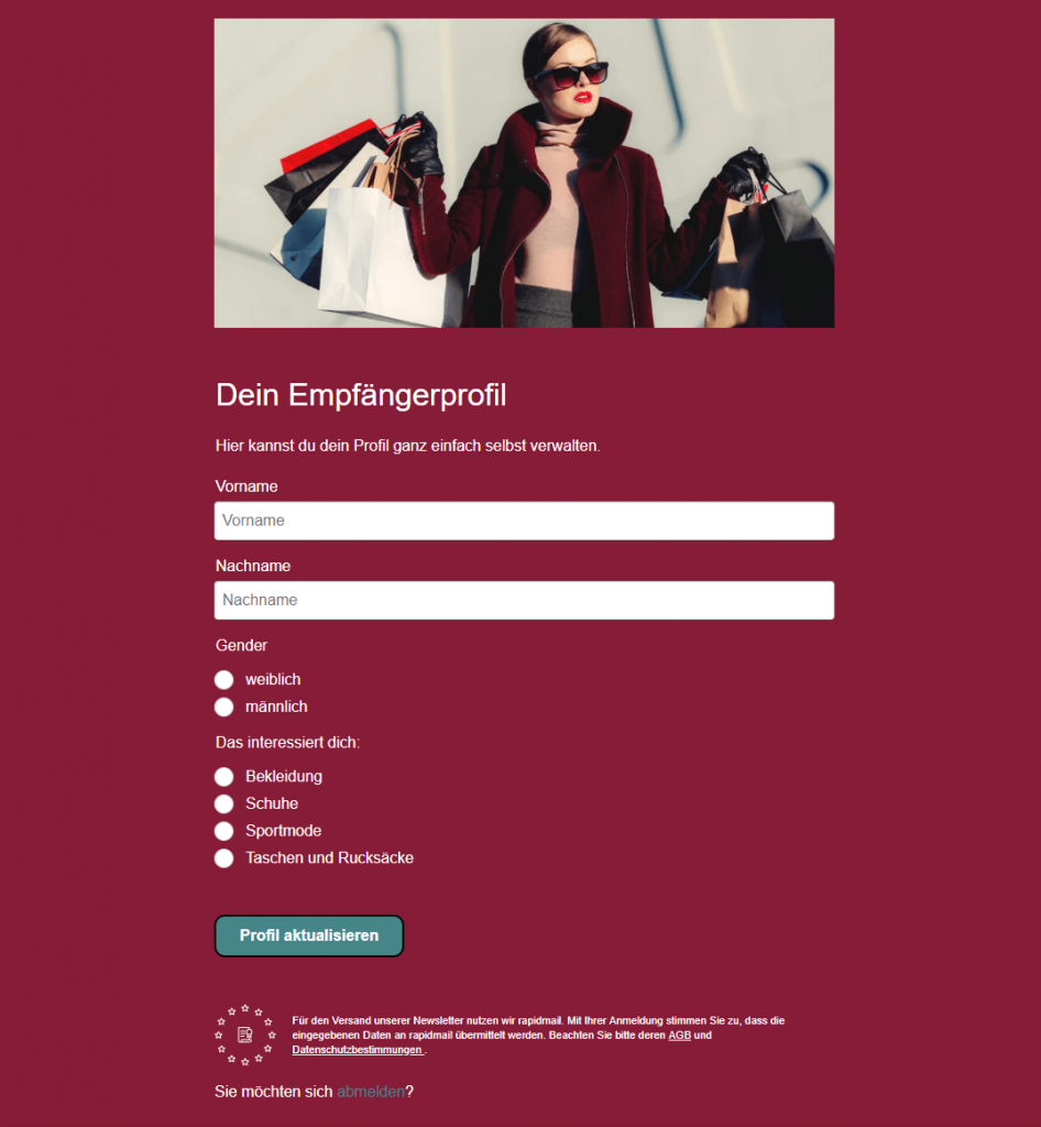 Empfängerprofil Newsletter-Anmeldung