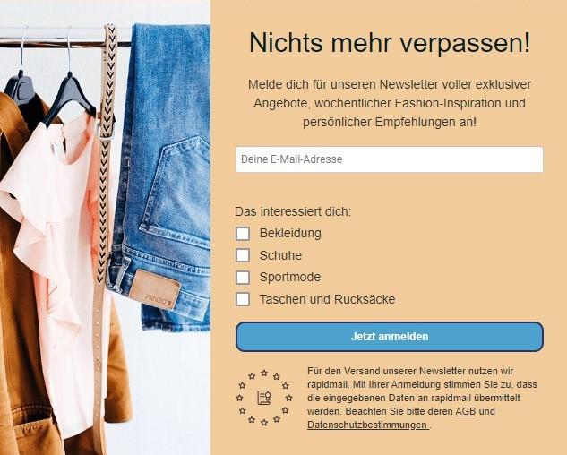 Newsletter-Anmeldeformular Onlineshop
