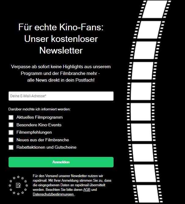 Newsletter-Anmeldeformular für Kinos