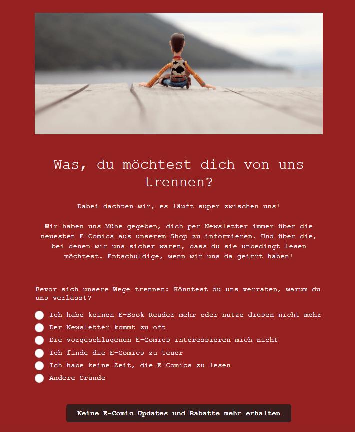 Text für Newsletter-Abmeldeseite