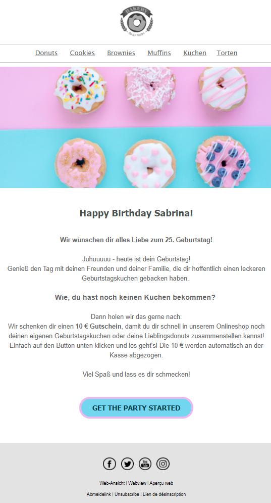Beispiel personalisierte automatische Geburtstags-E-Mail für Kunden