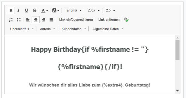 Personalisierung in der Geburtstags Email
