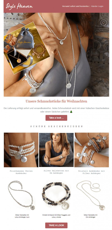 Beispiel Mailing Weihnachten - Onlineshop Geschenkideen