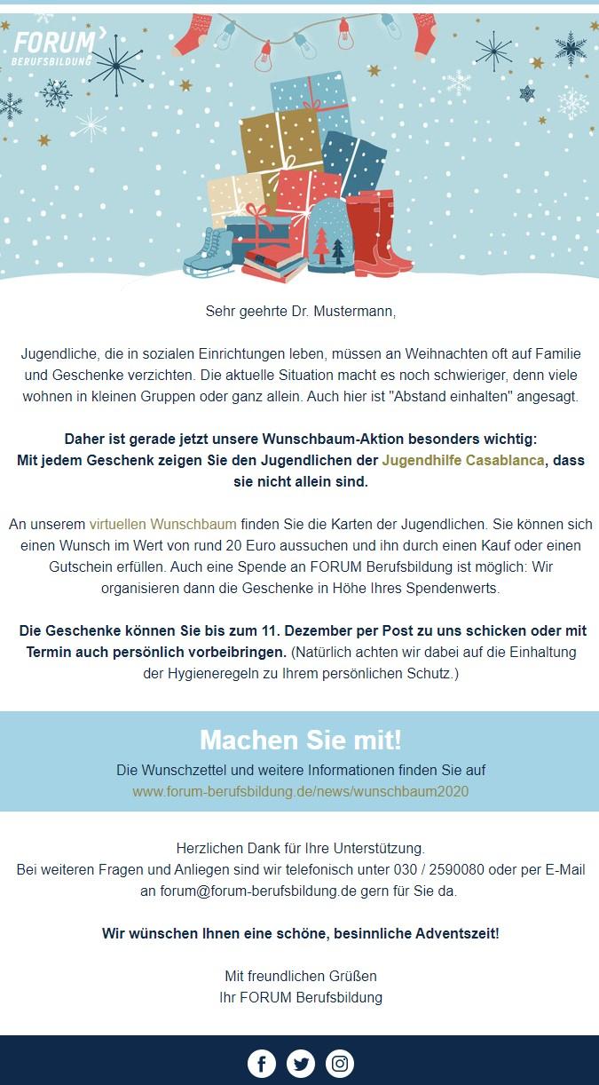Weihnachtlicher Newsletter Spendenaktion