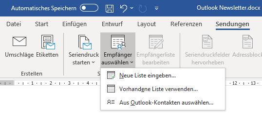 Empfänger für Outlook Newsletter auswählen
