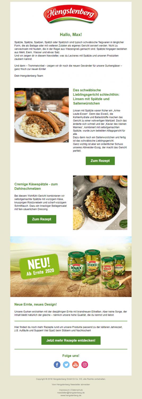 Hengstenberg Newsletter Beispiel Rezepte