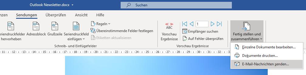 Outlook Newsletter fertig stellen und versenden