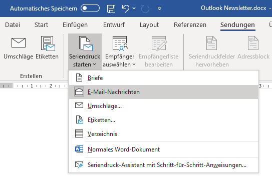 Outlook Serienmail in Word anlegen