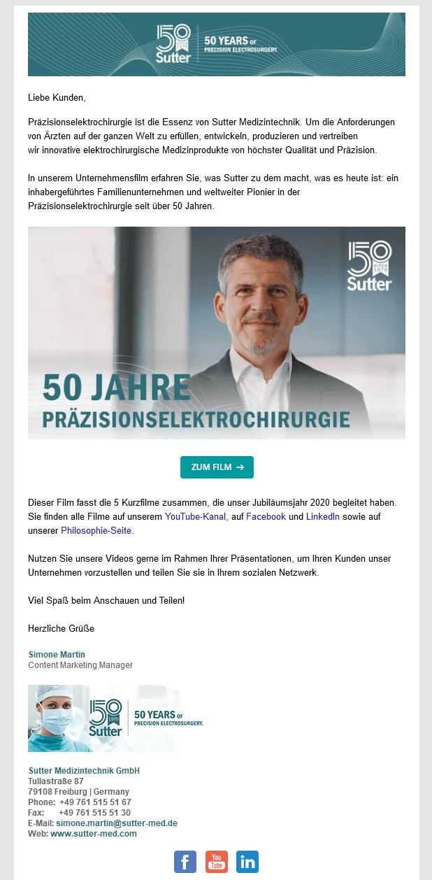 E-Mail Newsletter heute - Beispiel Firmenjubiläum
