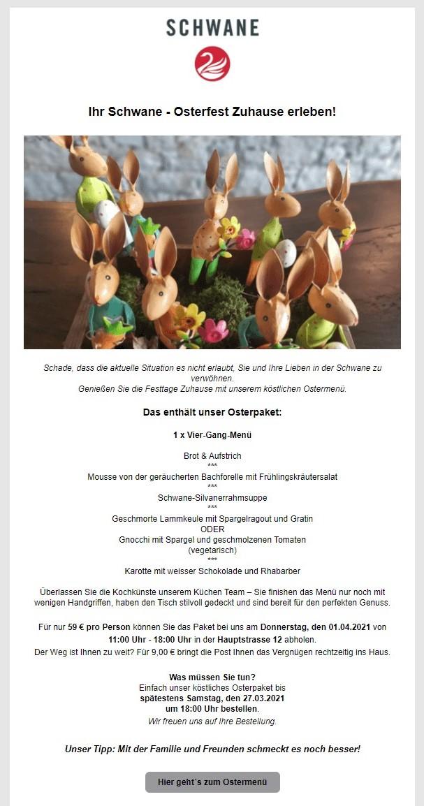 Kundenbeispiel Osternewsletter_Ostermenu-to-go