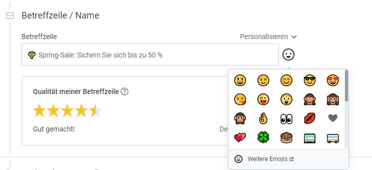 Emojis in den E-Mail-Betreff einfügen