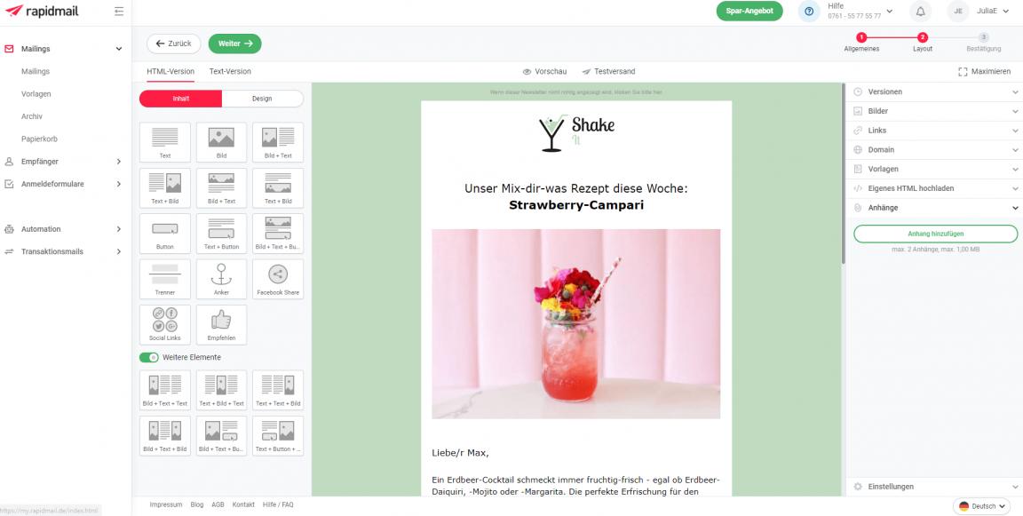 Newsletter Editor für Online-Marketing