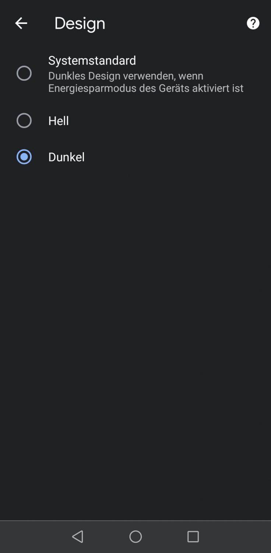 Beispiel Anzeige Dark Mode