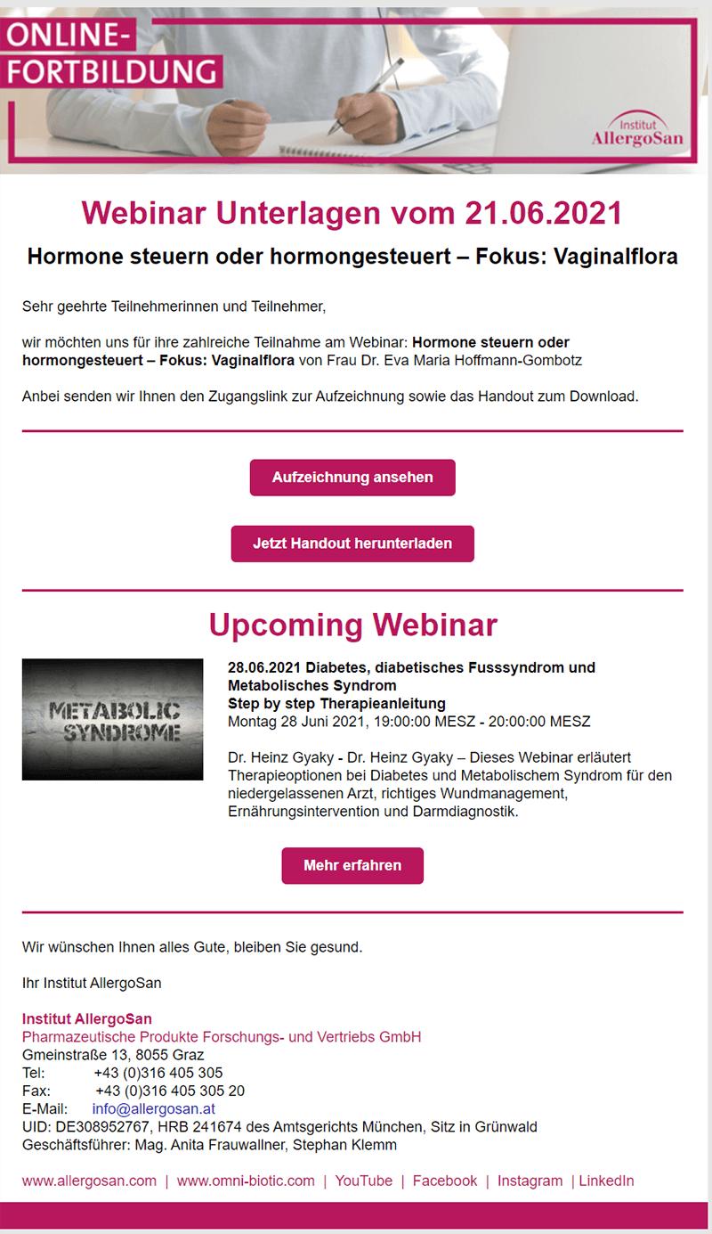 Upcoming Webinar E-Mail-Beispiel vom Institut Allergosan