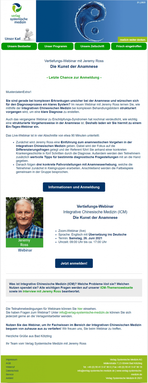 Praxisbeispiel Webinar-Erinnerung vom Verlag Systemische Medizin
