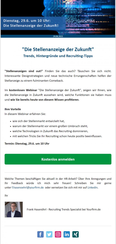Webinar-Ankündigung per E-Mail versenden Beispiel