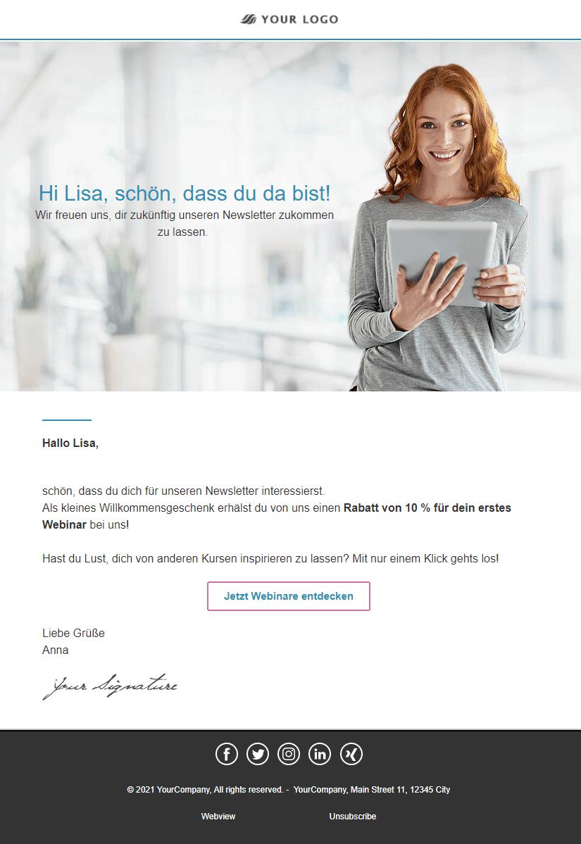 Willkommens-E-Mail Beispiel
