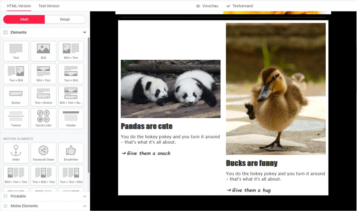 Bilder im Newsletter auf gleiche Höhe bringen