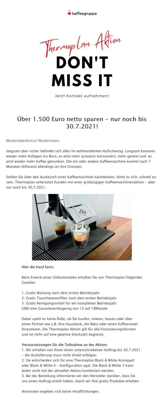 Newsletterbeispiel Kaffeegruppe