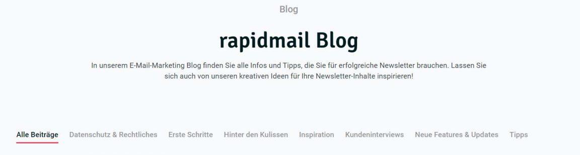 rapidmail Blog Kategorien