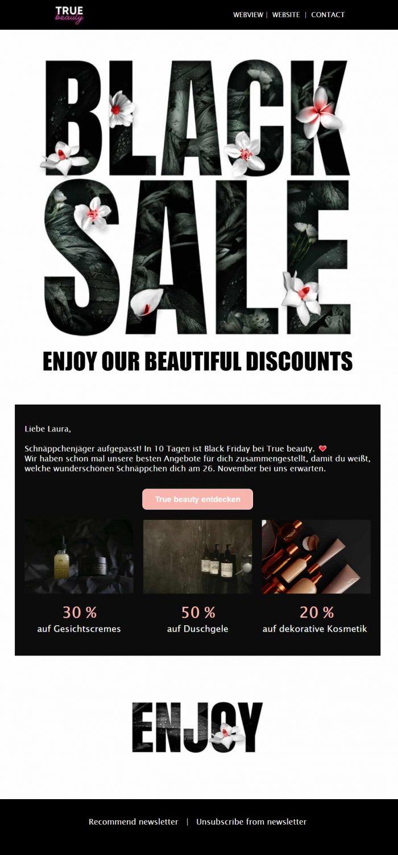 Newsletter Beispiel Black Sale