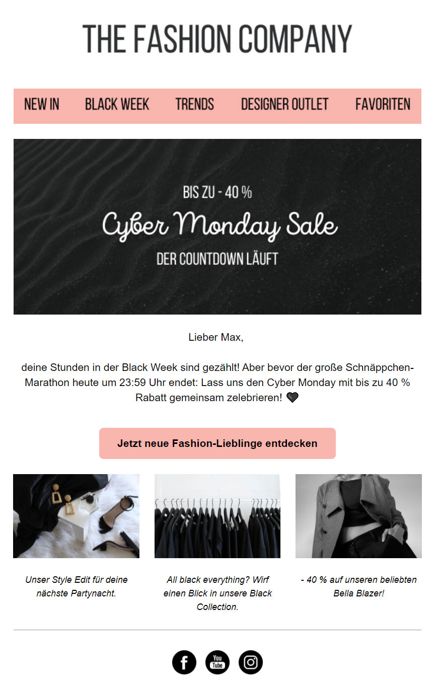 Newsletter Beispiel Cyber Monday