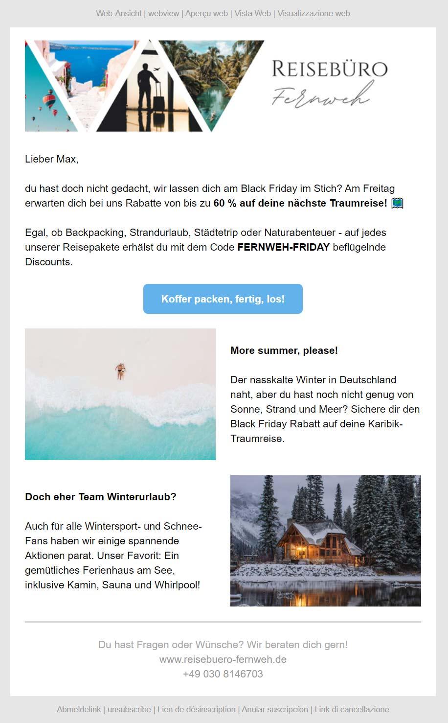 Newsletter Black Friday Reise