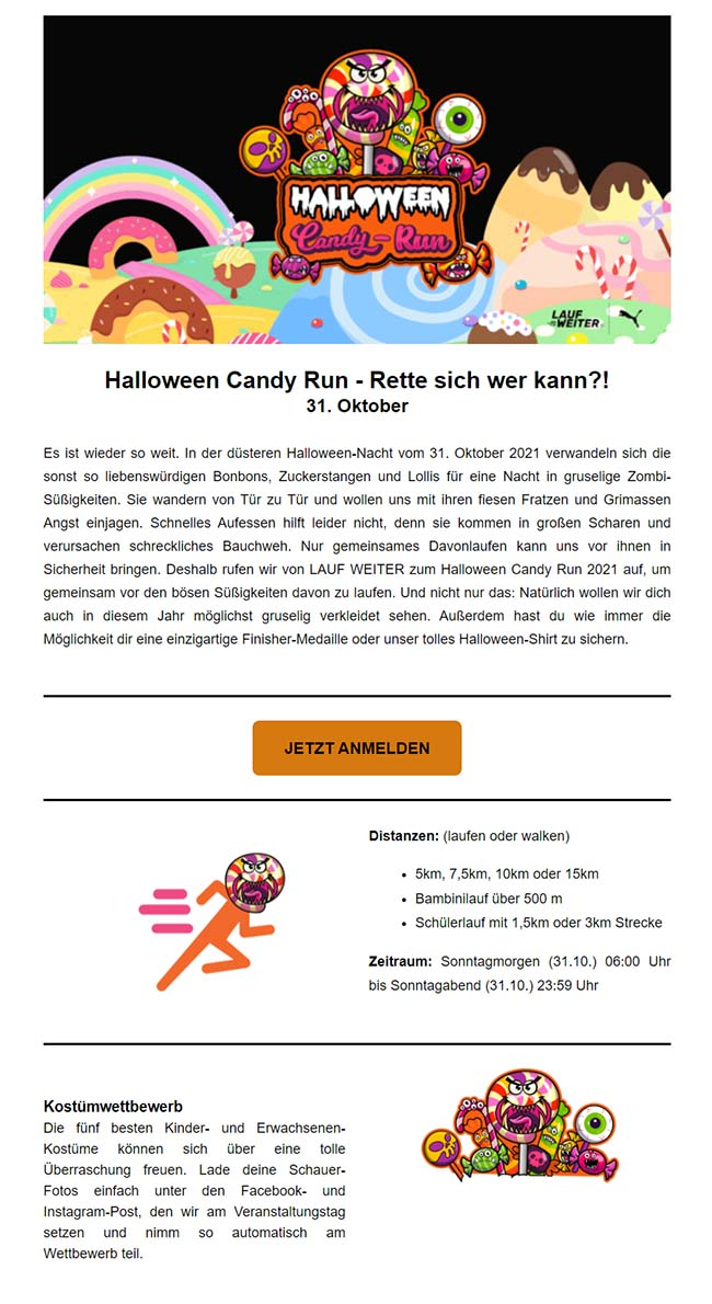 Newsletterbeispiel Candy Run
