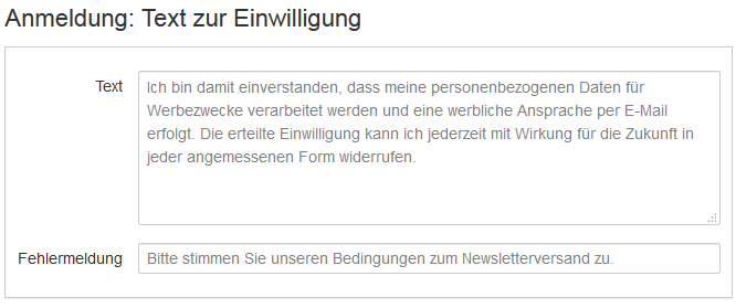 Checkbox in Newsletter-Anmeldeformular