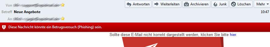 Der Empfänger erhält eine Phishing-Warnung? 1