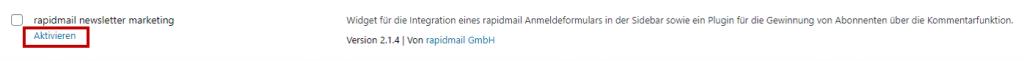 Aktivierung rapidmail WordPress Plugin