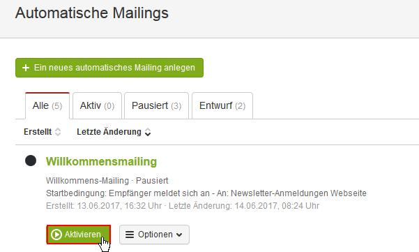 Automatisches Willkommens-Mailing anlegen