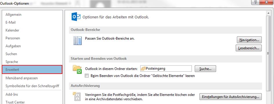 Empfänger aus Outlook