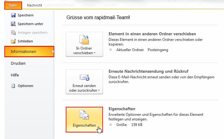 Header-Information Outlook