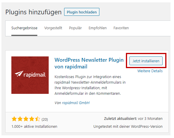 Installation rapidmail WordPress Plugin