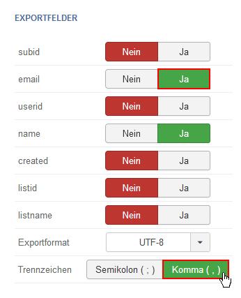 Joomla Newsletter Empfänger übertragen
