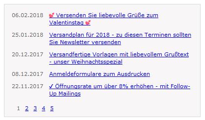 Online-Verzeichnis (Newsletter-Archiv) in Website einbauen