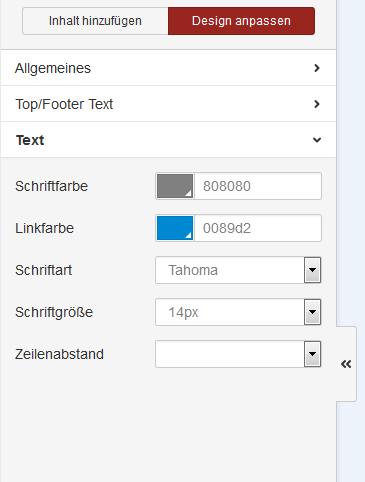Textgröße und -Farben definieren